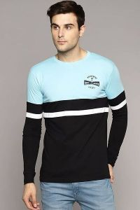 Men's Fashionable and Stylish Color Blocked Printed Cotton Round Neck T-Shirt (Sky Blue)