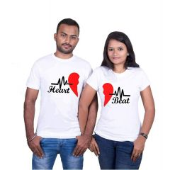 Cotton Printed Round Neck Couple T-Shirt For Men's & Women's (White) (Pack of 1)