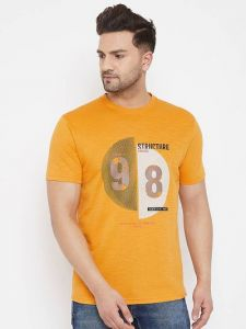 Cotton Printed Half Sleeve Round Neck Casual T-Shirt For Men's (Mustard) (Pack of 1)