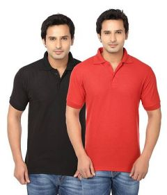 Men's Fashionable and Stylish Regular Fit Polo T-Shirt (Black & Red) (Pack of 2)