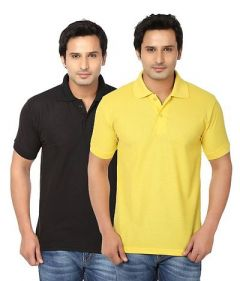 Men's Fashionable and Stylish Regular Fit Polo T-Shirt (Black & Yellow) (Pack of 2)