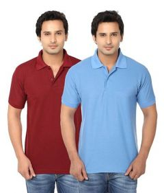 Stylish and Regular Fit Solid Short Sleeves Polo T-Shirt For Men's (Multi-Color) (Pack of 2)