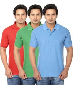 Stylish and Regular Fit Solid Cotton Blend Short Sleeves Polo T-Shirt For Men's (Multi-Color) (Pack of 3)