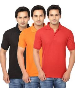 Stylish and Regular Fit Solid Short Sleeves Polo Neck T-Shirt For Men's (Multi-Color) (Pack of 3)