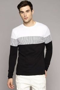 Men's Fashionable and Stylish Color Blocked Printed Cotton Round Neck T-Shirt (White & Black)