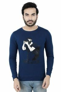 Cotton Printed Round Neck Full Sleeve Casual T-Shirt For Men's (Blue) (Pack of 1)