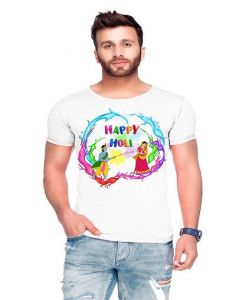 Trendy Cotton Blend Printed Round Neck Half Sleeve Casual T-Shirt For Men's (White) (Pack of 1)