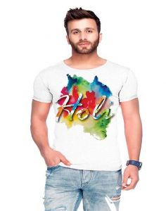 Trendy Cotton Blend Holi Printed Round Neck Half Sleeve Casual T-Shirt For Men's (White) (Pack of 1)
