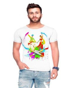 Trendy Cotton Blend Holi Printed Round Neck Short Sleeve Casual T-Shirt For Men's (White) (Pack of 1)