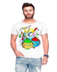 Trendy Cotton Blend Holi Printed Short Sleeve Round Neck Casual T-Shirt For Men's (White) (Pack of 1)
