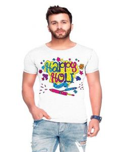 Trendy Cotton Blend Holi Printed Half Sleeve Round Neck Casual T-Shirt For Men's (White) (Pack of 1)