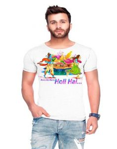 Trendy Cotton Blend Holi Printed Half Sleeve Casual T-Shirt For Men's (White) (Pack of 1)