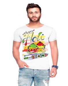 Trendy Cotton Blend Holi Printed Short Sleeve Casual T-Shirt For Men's (White) (Pack of 1)