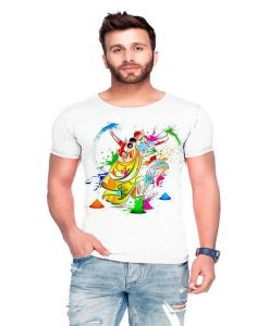 Trendy Holi Cotton Blend Printed Short Sleeve Casual T-Shirt For Men's (White) (Pack of 1)