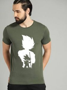 Trendy Cotton Printed Short Sleeve Casual T-Shirt For Men's (Green) (Pack of 1)