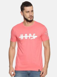 Trendy Cotton Printed Half Sleeve Casual T-Shirt For Men's (Pink) (Pack of 1)