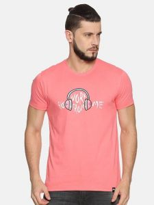 Trendy Cotton Printed Short Sleeve Casual T-Shirt For Men's (Pink) (Pack of 1)