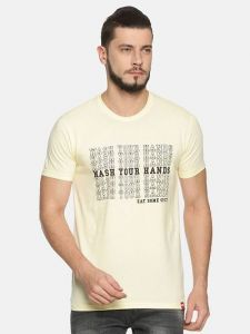 Trendy Cotton Printed Short Sleeve Casual T-Shirt For Men's (Off-White) (Pack of 1)