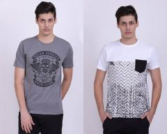 Trendy Cotton Blend Printed Short Sleeve Casual T-Shirt For Men's (White & Grey) (Pack of 2)