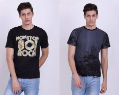 Trendy Cotton Blend Printed Short Sleeve Casual T-Shirt For Men's (Multi-Color) (Pack of 2)