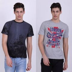 Trendy Cotton Blend Printed Half Sleeve Casual T-Shirt For Men's (Multi-Color) (Pack of 2)