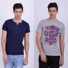 Trendy Cotton Blend Self Pattern Half Sleeve Casual T-Shirt For Men's (Multi-Color) (Pack of 2)