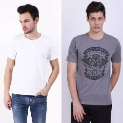 Trendy Cotton Blend Self Pattern Half Sleeve Casual T-Shirt For Men's (White & Grey) (Pack of 2)
