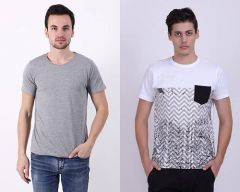 Trendy Cotton Blend Self Pattern Short Sleeve Casual T-Shirt For Men's (Multi-Color) (Pack of 2)