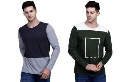 Trendy Cotton Blend Self Pattern Round Neck Casual T-Shirt For Men's (Multi-Color) (Pack of 2)