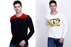 Cotton Blend Self Pattern Short Sleeves Round Neck Casual T-Shirt For Men's (Multi-Color) (Pack of 2)