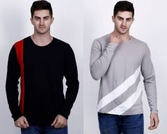 Cotton Blend Self Pattern Half Sleeves Round Neck Casual T-Shirt For Men's (Multi-Color) (Pack of 2)