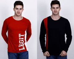 Cotton Blend Self Pattern Round Neck Half Sleeves Casual T-Shirt For Men's (Multi-Color) (Pack of 2)