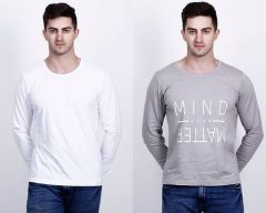 Cotton Blend Self Pattern Round Neck Short Sleeves Casual T-Shirt For Men's (Multi-Color) (Pack of 2)