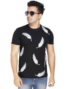 Men's Trendy and Stylish Polycotton Printed Round Neck Casual T-Shirt (Black) (Pack of 1)