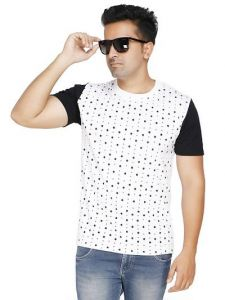 Men's Trendy and Stylish Polycotton Dot Printed Round Neck Casual T-Shirt (White) (Pack of 1)