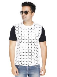 Men's Trendy and Stylish Polycotton Printed Round Neck Casual T-Shirt (White) (Pack of 1)