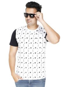Trendy and Stylish Polycotton Printed Round Neck Casual T-Shirt For Men's (White) (Pack of 1)