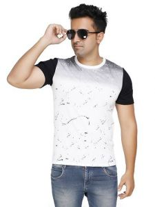 Trendy and Stylish Polycotton Printed Round Neck Short Sleeve Casual T-Shirt For Men's (White) (Pack of 1)