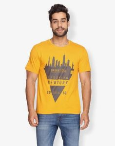 Trendy and Stylish Cotton Print Half Sleeve Casual T-Shirt For Men's (Yellow) (Pack of 1)