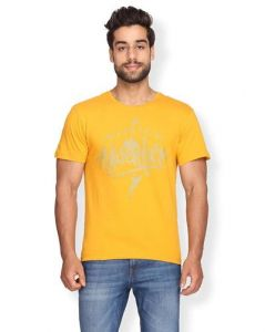 Stunning and Amazing Cotton Print Half Sleeve Casual T-Shirt For Men's (Yellow) (Pack of 1)
