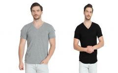 Trendy and Stylish Cotton Printed V-Neck Short Sleeve Casual T-Shirt For Men's (Black & Grey) (Pack of 2)