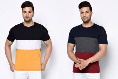 Stylish Cotton Color Blocked Round Neck Short Sleeve Casual T-Shirt For Men's (Multi-Color) (Pack of 2)