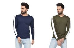 Stylish Self Pattern Cotton Long Sleeve Round Neck Casual T-Shirt For Men's (Multi-Color) (Pack of 2)