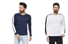 Stylish Self Pattern Cotton Full Sleeve Round Neck Casual T-Shirt For Men's (Multi-Color) (Pack of 2)