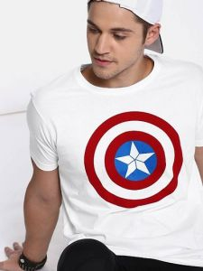 Look Cool & Smart Avenger Round Neck Casual T-Shirt For Men's (White) (Pack of 1)