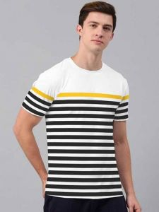 Cotton Striped Half Sleeve Round Neck Casual T-Shirt For Men's (Multi-Color) (Pack of 1)