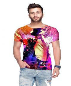 Polyester Blend Printed Round Neck Casual T-Shirt For Men's (Multi-Color) (Pack of 1)