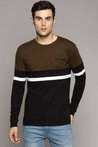 Men's Fashionable and Stylish Color Blocked Printed Cotton Round Neck T-Shirt (Brown)