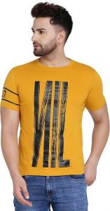 Stylish Printed Cotton Blend Round Neck Casual T-Shirt For Men's (Yellow) (Pack of 1)