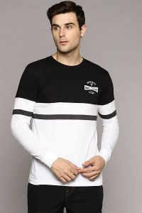 Men's Fashionable and Stylish Color Blocked Printed Cotton Round Neck T-Shirt (Black & White)